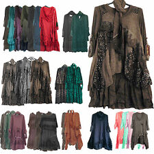 NEW WOMENS QUIRKY LAGENLOOK LAYERED 3 PIECE LONG LACE WOOL TUNIC DRESS 10-16