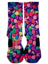 Custom Nike Elite Hearts Candy Socks Limited Customized Elites Mens Womens USA!