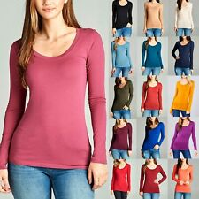 Scoop Neck Basic Long Sleeve Tee Shirt Solid Cotton Stretch Top Junior Womens