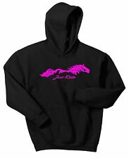 YOUTH JUST RIDE HORSE HOODIE SWEAT SHIRT PONY COW GIRL SADDLE TACK EQUESTRIAN