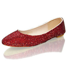 Marc Defang Women's Ruby Red Crystal Luxury Bridal Wedding Ballet Flats