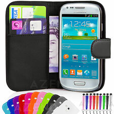 Flip Leather Wallet Case Cover & Film For Samsung Galaxy S3 Mini i8190