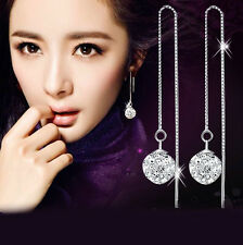 925 Sterling Silver swarovski crystal Long box chain drop Dangle ball earrings