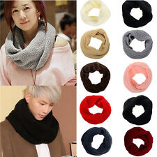 New Ladies Women Wool Knit Winter Warm Knitted Neck Circle Cowl Snood Scarf Hot
