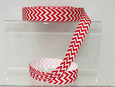 "Chevron ZigZag Grosgrain Ribbon 22mm 7/8"" wide 1, 2 or 5 metres Red"