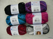 RED HEART SASHAY SEQUINS BOUTIQUE RUFFLE SCARF YARN ~ CHOICE OF COLORS