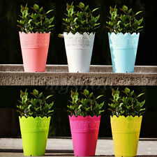 Flower Planter with Tray Home Office Decor Crown Lace Plastic Plant Pots Garden