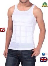 MENS BODY SHAPER WHITE SHIRT MAN BOOBS COMPRESSION MOOBS TANK BELLY GIRDLE VEST