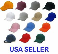 WHOLESALE LOT 10 Plain Blank Baseball Caps Adjustable Velcro Back Strap 10 Hats