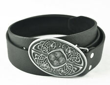 Western Trendy Celtic SCOTTISH KILT Funny Oval Buckle Mens Cowboys Leather Belt