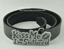 Funny Lovely Mens Cowboys KISS ME I'M SHITFACED Cool Metal Buckle Leather Belt