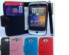 Flip Wallet Leather Case Cover For HTC Wildfire Free Screen Protector & Stylus