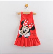 girls kids clothes cute  Minnie Mouse dress red and pink clothing