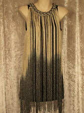 1920 Great Gatsby Style Flapper Party Dresses Clubwear Fringe  Beaded Neckline M
