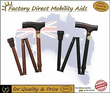 Bronze Black Folding T-Handle Walking Stick / Walking Cane .. Top Quality!