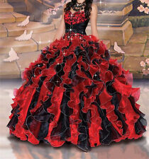Red/Black Charming Quinceanera Dress Ball Gown Party Prom Formal Dress Size2-16