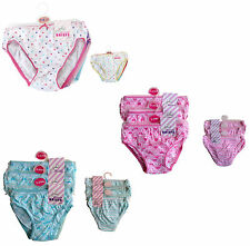 Girls Brief Pack of 6 OR 12 100% Cotton Briefs Knickers Underwear Pants 2-8 yrs