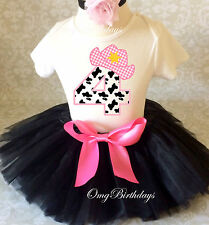 Cowgirl Cow Print Black pink Girl 4th Birthday Tutu Outfit Shirt Set Party dress
