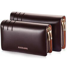 Mens Real Leather Busines Clutch Wrist Bag Handbag Organizer Briefcase Checkbook