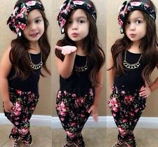 Fashion 3 in 1 girls outfit Tops Pants + kerchief printing Kids suits 2-7T Sets