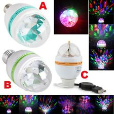 E27/USB RGB Auto Rotating Stage Light DJ Disco Crystal 3W LED Ball Bulb Lamp HOT
