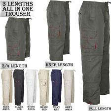 NEW MENS COMBAT CARGO FULL ELASTICATED WAIST PANTS TROUSERS CASUAL BOTTOM 3 IN 1