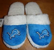 Womens DETROIT LIONS Sherpa Slippers Size M 7/8 L 9/10 NWT scuffs Slide On Blue