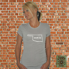 """WOMENS """"MADE IN"""" HOME OK OKLAHOMA USA STATE VINTAGE SLIM FIT TOP T-SHIRT TEE NEW"""