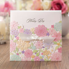 Pretty Floral Cut-out Wedding Invitation Cards With Bowknot and Envelopes, Seals