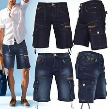 MENS CROSSHATCH SUMMER SHORTS JEANS CASUAL BEACH DENIM WASH CARGO COMBAT PANTS