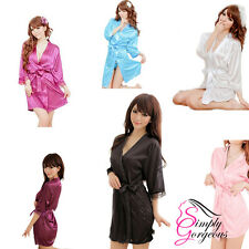 Hot Sexy Silk, Satin Lace Dressing Gown Bath Robe Hot Fashion Nightwear Kimono