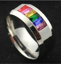8MM Stainless Steel Titanium Rainbow Ring Men Jewel Wedding Matching SZ J-T