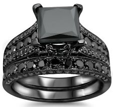 4.30CT  PRINCESS CUT BLACK CZ ENGAGEMENT WEDDING RING BRIDAL SET