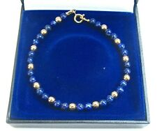 Bracelet Gold Lapis 14k Yellow Lazuli natural 3 solid gold beads gemstone men