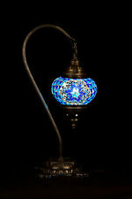 Turkish Mosaic Lamp Hand Crafted Table Lamp Swan neck Style Size 2 Blue