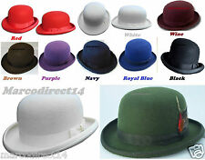 100% Wool Adults Black Bowler Hat Mens Womens Fashion Hat Satin Band & Lining