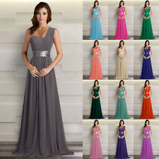 New Bridesmaids Dresses Long One Shoulder Prom Evening Wedding Gowns Size 6-26