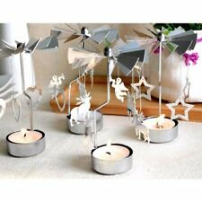 4 Types Silver Rotating Rotary Spinning Carrousel Tea Light Candle Holder Decors