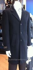 Mens Cashmere Wool Coat Warm Winter Crombie Style Long Overcoat Black Charcoal