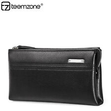 Men Genuine Leather Cowhide Casual Zipper Clutch Wallet Purse Handbag Checkbook