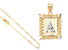 """14k Yellow Gold Alphabet Initial Letter A to Z Fancy Pendant,18"""" Gold Box Chain"""