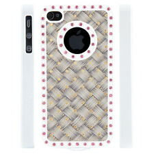 Apple iPhone 4 4S Gem Crystal Rhinestone Tan Gold Grey Weave case