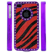 Gem Crystal Rhinestone Red Black Zebra Shimmer Leather Case For Apple iPhone 4