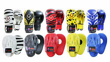 LEATHER FOCUS PADS HOOK & JAB MITTS MMA UFC STRIKE PUNCH BAG BOXING