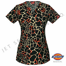 DICKIES MEDICAL WOMENS ITS BEEN A WILD PRINT SCRUB TOP NEW Sizes XS-2XL