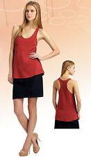 NWT Eileen Fisher Linen jersey Silk Trim Radish Red U-Neck Racerback Tank Top S