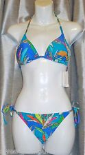 $129 Trina Turk Paradisea Blue 2 pc Triangle Top & Tie Side Bottom Bikini Set