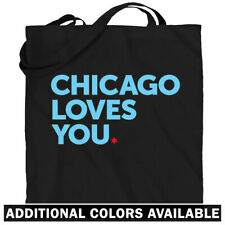 Chicago Loves You Tote Bag - Bulls Bears Cubs Sox IL Shopping Shoulder Bag - NEW