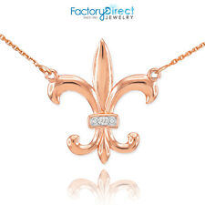 14k Rose Gold Diamond French Fleur-de-Lis Stylized lily Flower Necklace