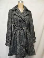 International Concept Double Breasted Belted Trench Coat L  Blk/Wht  New w/Tags